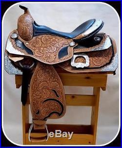 Med Oil Black Seat Super Silver Filigree Western Pleasure Show Saddle 16 FQHB