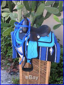 Miniature Mini Horse Turq/Blue 8 Western Saddle Pkg