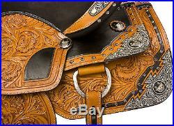 NEW 15 16 WESTERN SHOW LEATHER PARADE PLEASURE TRAIL HORSE SADDLE TACK SET