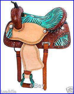 NEW 15 WESTERN PLEASURE TRAIL HORSE LEATHER BARREL SADDLE TACK BLUE ZEBRA