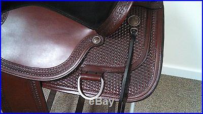 NEW Circle Y Yuma Flex2 tree Western Trail Saddle 17 Wide FullQH Bar suede seat