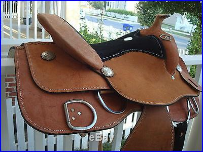 NEW WESTERN 16 TRAINING SADDLE ALL ROUGH OUT LEATHER AND FREE TACK