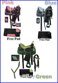 NEW WESTERN SYNTHETIC BARREL RACING TRAIL PLEASURE HORSE SADDLE WITH TACK SET