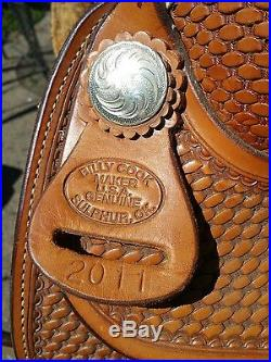NICE USED TOOLED WithRAWHIDE TRIM, BILLY COOK WESTERN SADDLE 14 SEAT