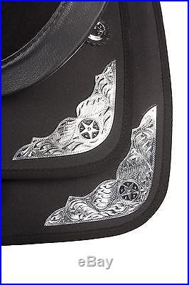 New 15 16 Western Black Show Trail Horse Saddle Synthetic Cordura Free Tack Set