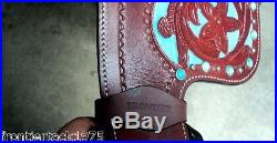 New 16western leather tack trail horse cowboy show saddle headstall, breastplate