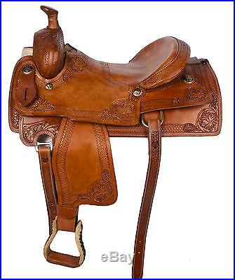 New Hand Carved Western Pleasure Trail Cowboy Horse Leather Saddle Tack 16 17 18