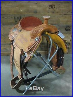 New Martin Saddlery Natural 14.5 Trophied Roping Saddle -No Reserve