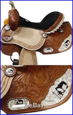 New Praying Cowboy Silver Barrel Saddle 14-15-16 inch Seat-Floral Tooling-nr