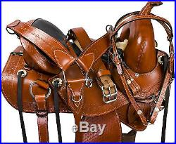 New Western Treeless Premium Leather Saddle Equestrian Tack with free tack set