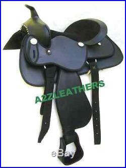 New western synthetic saddle black size 15,16 & 17