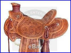 Premium Leather Western A Fork Wade Tree Roping Ranch Horse Saddle Size 14 to 18