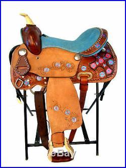 Premium Tooled Leather Western Kids Child Pony Youth Barrel Racing Saddle 12 13