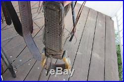 Roping Ranch Saddle, 15 inch seat, oxbow stirrups, basket weave design