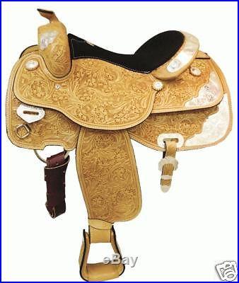 SHOWMAN WESTERN HORSE SHOW SADDLE W/ SILVER 14.5 17