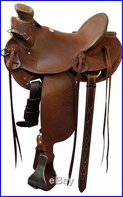 SHOWMAN WESTERN ROPING WADE RANCH HORSE SADDLE 15 16 17 FULL QH BARS