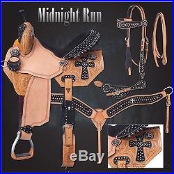 Silver Royal Barrel Saddle Pkg Midnight Run (13,14,15,16) Black Suede
