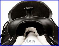 Synthetic Western Saddle Pleasure Trail Barrel Black Horse Tack 16 17