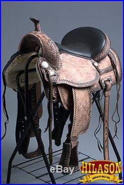 Tt100ro Hilason Western Leather Flex-tree Trail Endurance Saddle 15 16 17 18