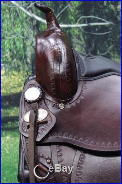 TT102 HILASON FLEX-TREE TRAIL PLEASURE WESTERN LEATHER HORSE SADDLE 15 16 17 18