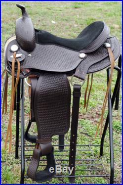 TT201-15 HILASON LEATHER WESTERN FLEX-TREE TRAIL PLEASURE HORSE SADDLE