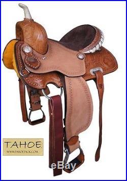 Tahoe Desert Rose Barrel Racer Western Horse Saddle Hand Tooled 14.5 or 15.5