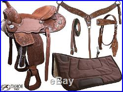 Tahoe Sparkle Conchos Floral Tooled Western Saddle 5 Items Set Kids and Adult