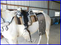 Ted Flowers silver Parade Saddle breast collar tapaderos bridle reins corona hip