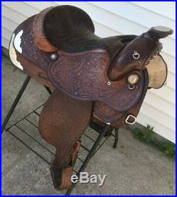 Tex Tan Hereford 15.5 FQHB Western Horse Show or Roping Saddle Tooled Leather