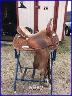 Tex Tan Used 15 NBHA Barrel Saddle #08-NB88 with Purple