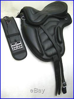 Treeless cow softy leather Saddles black size 16,17 & 18 + Matching Girth