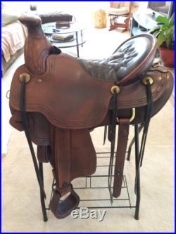 Tucker Cimarron Tooled 16.5 Saddle, Wide, Round Skirt, Long Western Fenders