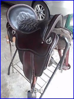 Tucker River Plantation Saddle 16 Dark Brown Gel Seat, Trail Saddle