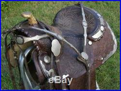 UNIQUE VINTAGE CIRCLE Y Lot's of Silver Trim MATCHING Headstall & Breast Collar