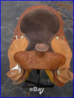 Used 15 Barrel Racing Trail Pleasure Show Tooled Leather Horse Western Saddle