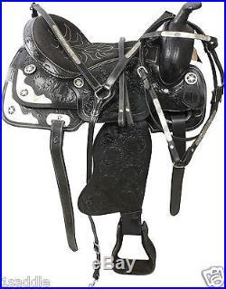 USED 16 BLACK TOOLED LEATHER WESTERN PLEASURE TRAIL SHOW HORSE SADDLE TACK