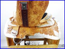 USED 16 MONTANA DIAMOND WESTERN SILVER PARADE TRAIL HORSE LEATHER SADDLE TACK
