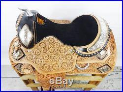 USED 16 MONTANA LEATHER WESTERN SILVER SHOW PARADE PLEASURE TRAIL HORSE SADDLE