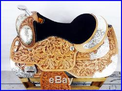 USED 16 MONTANA SILVER SHOW WESTERN LEATHER PARADE PLEASURE TRAIL HORSE SADDLE