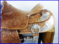 USED 16 WESTERN HORSE COWBOY SILVER SHOW RODEO PLEASURE TRAIL PARADE SADDLE