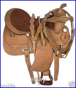 USED 16 WESTERN PLEASURE TRAIL HORSE LEATHER SADDLE TACK BARREL RACING RACER
