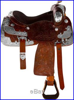 USED 16 WESTERN SHOW SADDLE LEATHER SILVER TACK PLEASURE TRAIL PARADE HORSE