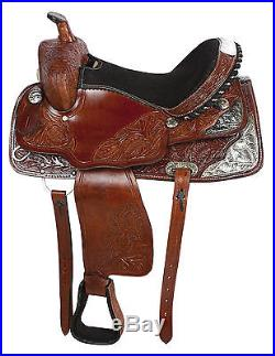 USED WESTERN SHOW SADDLE 16 HORSE SILVER BRIDLE REINS TACK PLEASURE TRAIL