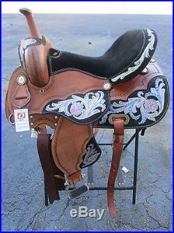 Used 15 16 Barrel Racing Show Blue Pink Pleasure Leather Western