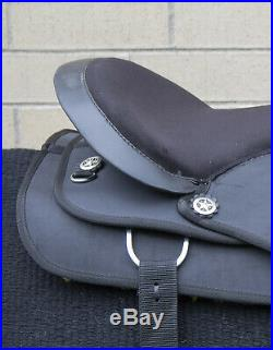 Used 16 Black Synthetic Western Show Silver Trail Riding Horse Saddle Tack