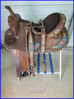 Used 16 Brown Leather Barrel saddle with Matching Bridle & Breast Collar