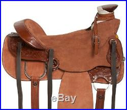 Used 16 Rough Out Hand Carved Western Roping Wade Tree Leather Saddle Tack Set