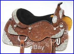 Used 17 Silver Parade Show Premium Hand Carved Leather Western Horse Saddle