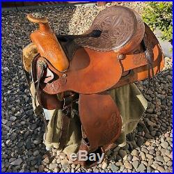 Used Vintage Brown 16 HEREFORD TEXTAN WESTERN Horse SADDLE Leather