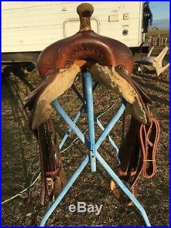Used / vintage 16.5 Billy Cook Western reining saddle US made